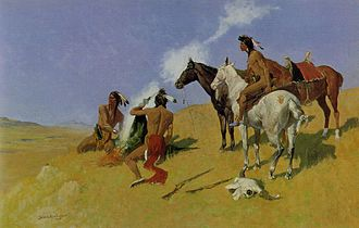 Smoke signal - Native Americans on a painting by Frederic Remington