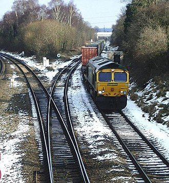 Birmingham–Peterborough line - A container train from Nuneaton approaches Water Orton station