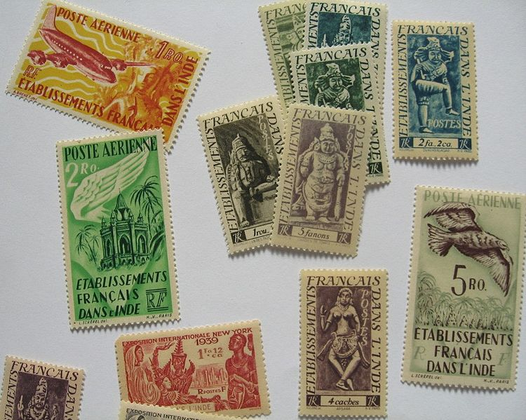 File:French India postage stamps.jpg