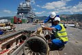 French aircraft carrier Charles de Gaulle - catapult maintenance 2008.jpg