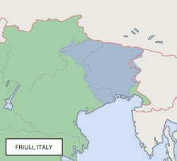 Location of Friuli in Europe