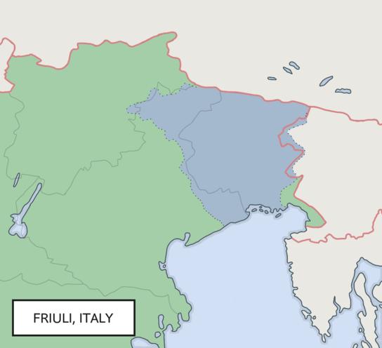Location of Friuli in Europe