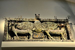 Anzû (mythology) - Frieze of Imdugud (Anzu) grasping a pair of deer, from Tell Al-Ubaid.