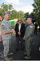 From left, U.S. Air Force Chief Master Sgt. Michael Cone, Maj. Gen. Paul Brown and Maj. Gen. Don Ralph talk before a press conference at Mirgorod Air Base, Ukraine, July 22, 2011, during Safe Skies 2011 110722-Z-ZZ999-003.jpg