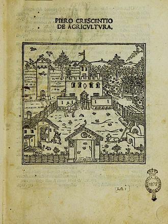 Pietro de' Crescenzi - Frontispiece of the De agricultura in the vernacular edition of Matteo Capcasa, printed in Venice in 1495.jpg