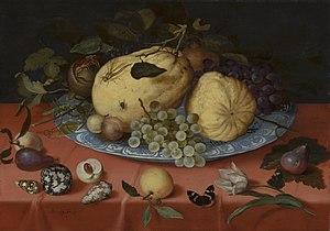 Ambrosius Bosschaert -  Fruit still life with shells painted by Balthasar van der Ast.