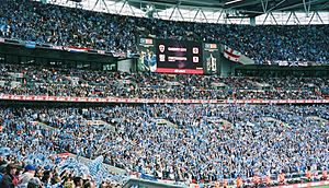 Portsmouth F.C. - The scoreboard at the end of the 2008 FA Cup Final, in which Portsmouth beat Cardiff City 1–0