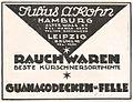 Fur wholesale dealer Julius A Kohn, Hamburg und Leipzig, 1922, advertisement.jpg