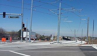 R Line (RTD) - R Line tracks at the intersection of East Exposition Ave and South Sable Boulevard prior to operation