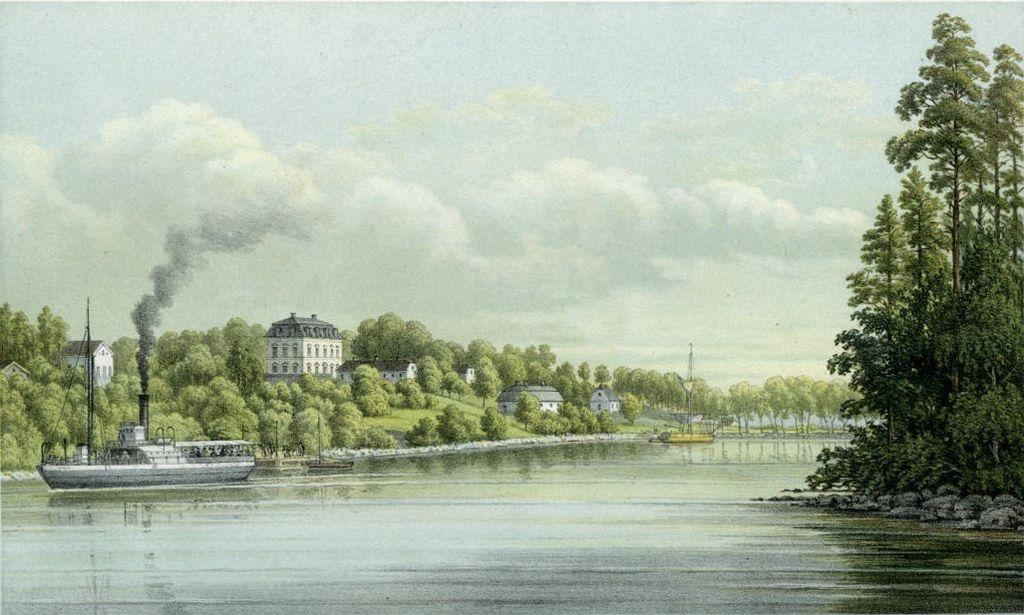 Görvälns slott 1870-talet, färglitografi av Alexander Nay 1881.jpg