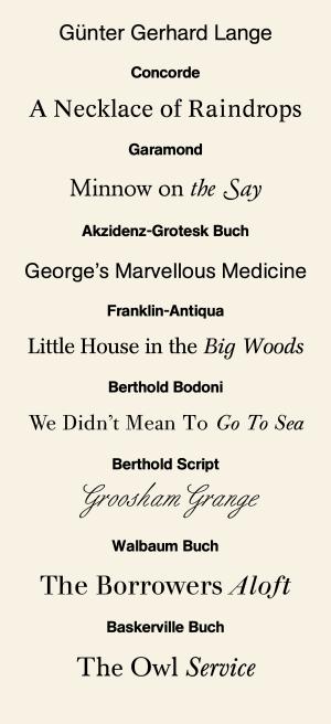 Günter Gerhard Lange - A sample of fonts designed by Lange.