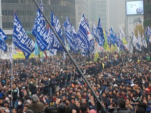 G20 protests Seoul - VOA - labor protesters