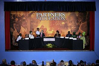 University of Liberia - Liberian President Johnson Sirleaf and U.S. President Bush at the campus in 2008