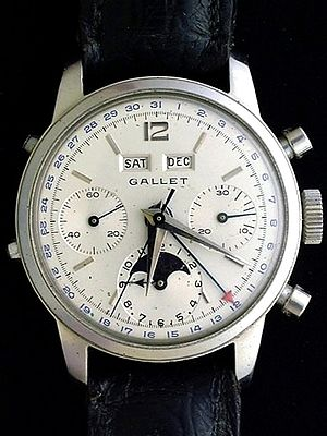 Chronograph - Gallet MultiChron Astronomic (ca. 1959)—complex mechanical chronograph with 12-hour recoding capabilities, automatic day, date, month, and moon phase display