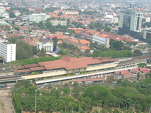 Gambir railway station - Aerial view of Gambir Station from the National Monument.