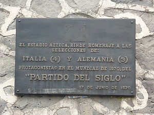 "Estadio Azteca - Plaque commemorating the ""Game of the Century"""