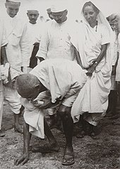 Gandhi at the end of the salt march