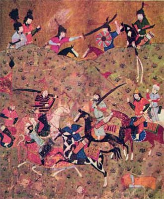 Mas'ud I of Ghazni - Artwork of the Battle of Dandanaqan