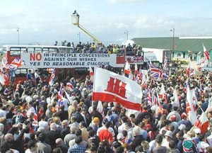 Disputed status of Gibraltar - 25,000 Gibraltarians demonstrate against joint sovereignty proposals on 18 March 2002