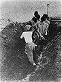 Gebonden mannen in een greppel worden gebajonetteerd door een beul, een man in, Bestanddeelnr 8825.jpg