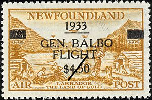 Postage stamps and postal history of Newfoundland - Overprinted 75-cent Newfoundland airmail stamp for the July 1933 General Balbo flight