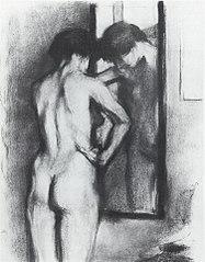 Ženský akt zezadu p řed zrcadlem