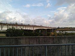 Gilbert Bridge spanning across the Padsan River in Laoag City, Ilocos Norte, Philippines