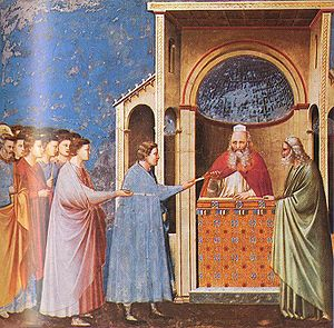 Marriage of the Virgin - Giotto, Scrovegni Chapel, The Rods Brought to the Temple