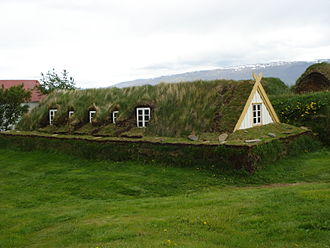 Icelandic turf house - Turf roof of a house in Glaumbær, Iceland