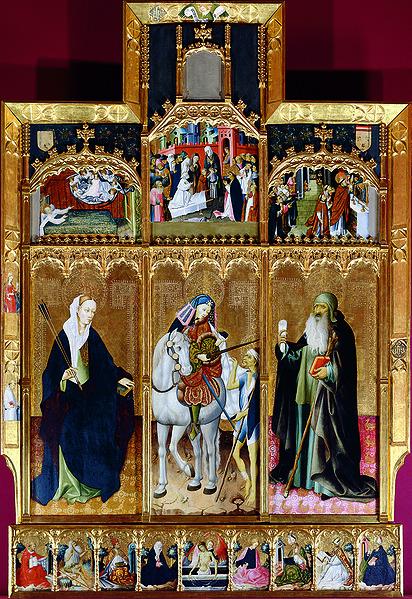 Archivo:Gonçal Peris, Retaule de Sant Martí, santa Úrsula i Sant Antoni Abat.jpg