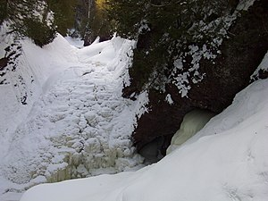 Black River (Gogebic County) - Gorge Falls in winter