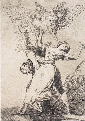 "Aquatint - Aquatint by Goya, from the Cycle ""Los Caprichos"": Can't Anyone Untie Us?"
