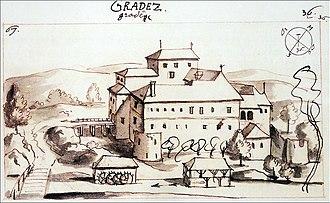 Gradac, Metlika - Image: Gradac Castle Valvasor