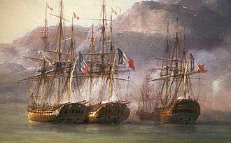 Battle of Grand Port - The French squadron at Grand Port. From left to right: Bellone, Minerve, Victor (background) and Ceylon, detail from Combat de Grand Port, by Pierre-Julien Gilbert