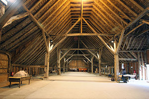 Barn - Grange Barn, Coggeshall, England, originally part of the Cistercian monastery of Coggeshall. Dendrochronologically dated from 1237–1269, it was restored in the 1980s by the Coggeshall Grange Barn Trust, Braintree District Council and Essex County Council.