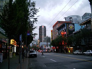 Granville Street - A northbound view of Granville Street, Downtown