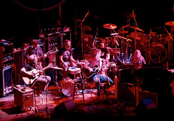 An acoustic performance at the Warfield Theatre in San Francisco in 1980. Left to right: Garcia, Lesh, Kreutzmann, Weir, Hart, Mydland. Grateful Dead at the Warfield-02.jpg