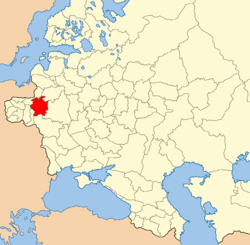 Grodno province on the map of the western part of the Russian Empire.png