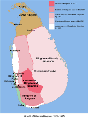 Campaign of Danture - Growth of the Sitawaka kingdom from 1521 to 1587