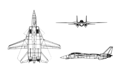 Orthographically projected diagram of F-14 Tomcat