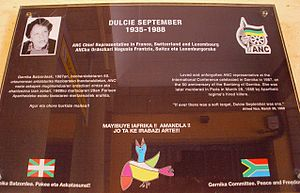 Dulcie September - Memorial to Dulcie September in the Basque/Spanish town of Guernica