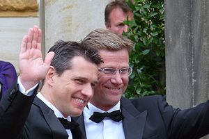 Free Democratic Party (Germany) - Westerwelle (right) and his partner Michael Mronz (2009)