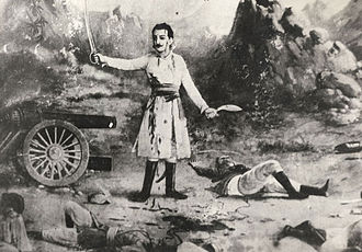 Kukri - Gambhir Singha Rayamajhi, Gurkha commander armed with a khukuri in his left hand