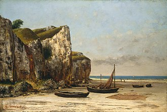 Lugger - A French lugger, beached and drying nets. The lugsail is spread on the beach. She is beached stern first as is normal. In beach-launched boats, the bow is designed to rise to surf without shipping water or broaching. Painted by Gustave Courbet around 1874.