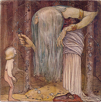 """Among Gnomes and Trolls - """"Here is a piece of magic herb for you. Something only I can find.""""–The boy who was never afraid, John Bauer 1912."""