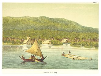 Oceania - Stone money transport to Yap Island in Micronesia (1880).