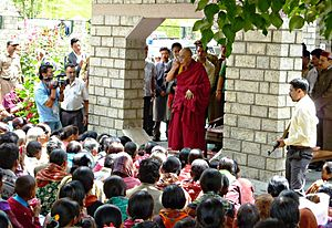 Sissu - The Dalai Lama talking to pilgrims at Sissu. August, 2010