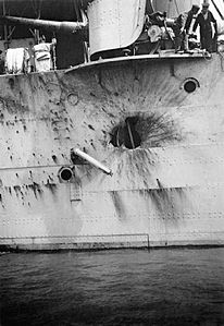 HMS Chester Jutland battle damage 1916 IWM SP 1594.jpg