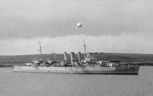 HMS Dorsetshire (40) - Dorsetshire at anchor in Scapa Flow in August 1941
