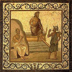 Asclepius - Asclepius (center) arrives in Kos and is greeted by Hippocrates (left) and a citizen (right), mosaic, 2nd–3rd century AD